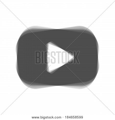 Play button sign. Vector. Gray icon shaked at white background.
