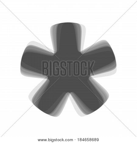 Asterisk star sign. Vector. Gray icon shaked at white background.