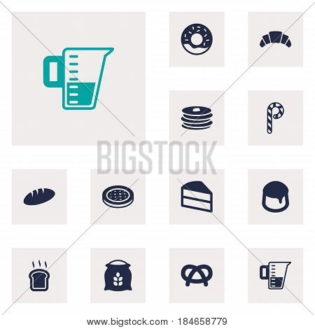 Set Of 12 Oven Icons Set.Collection Of Doughnut, Cake, Sack And Other Elements.
