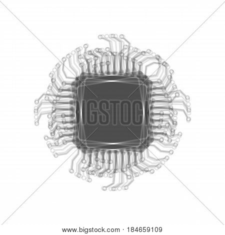 CPU Microprocessor illustration. Vector. Gray icon shaked at white background.