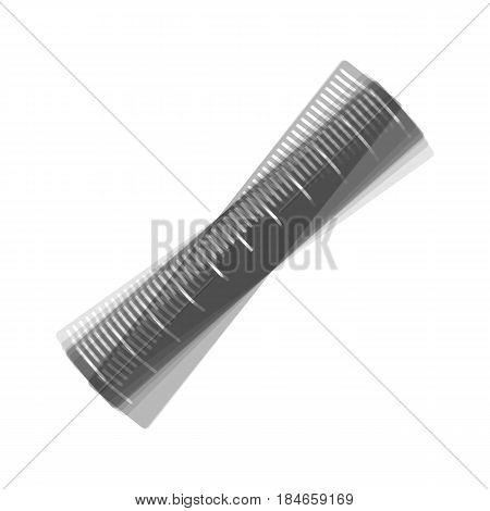 Centimeter ruler sign. Vector. Gray icon shaked at white background.