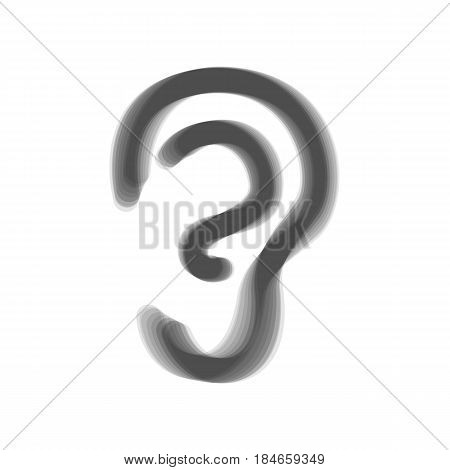 Human anatomy. Ear sign. Vector. Gray icon shaked at white background.