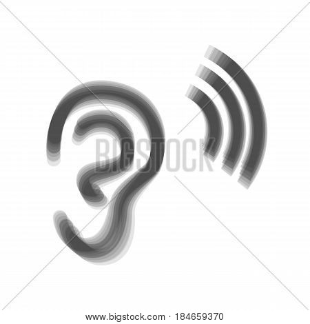 Human anatomy. Ear sign with soundwave. Vector. Gray icon shaked at white background.