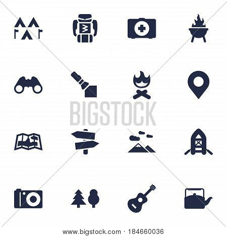 Set Of 16 Adventure Icons Set.Collection Of Acoustic, Inflatable Raft, Backpack And Other Elements.