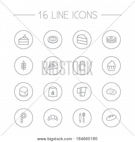 Set Of 16  Outline Icons Set.Collection Of Flour, Pizza, Pudding And Other Elements.