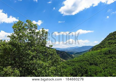 Panoramic Noon Of The Catalan Pyrenees. Spain