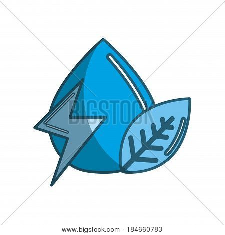 blue drop of water with energy sign and leaf, vector illustration