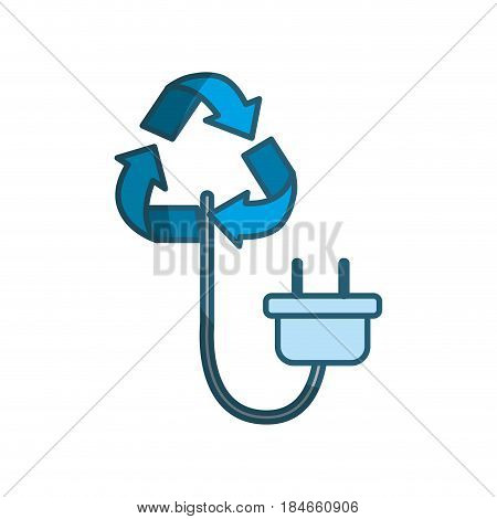 blue reduce symbol with power cable icon, vector illustration design