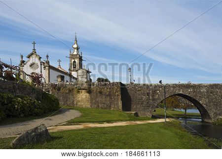 PONTE DE LIMA, PORTUGAL - OCTOBER 7, 2016: The church of Santo Antonio da Torre Velha is a late baroque temple with nave greater chapel sacristy and bell tower in the town of Ponte de Lima Portugal