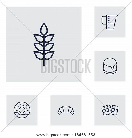 Set Of 6  Outline Icons Set.Collection Of Waffle, Measuring Cup, Croissant And Other Elements.
