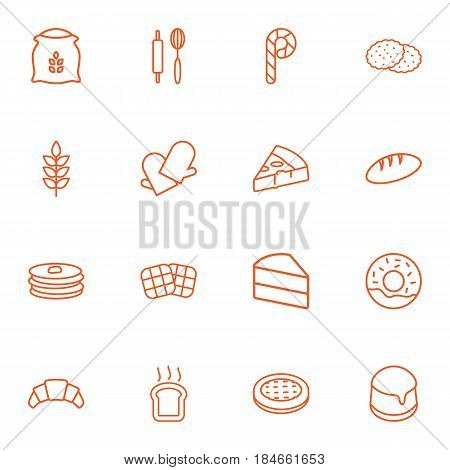 Set Of 16 Bakery Outline Icons Set.Collection Of Pudding, Bread, Donuts And Other Elements.