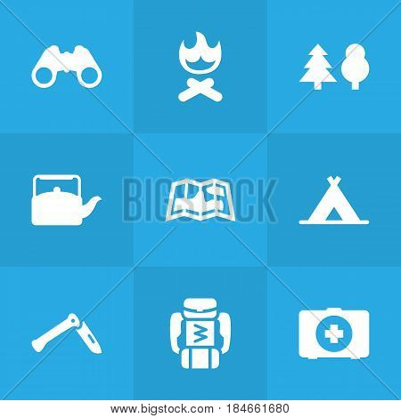 Set Of 9 Camping Icons Set.Collection Of Jackknife, Tent, Map And Other Elements.