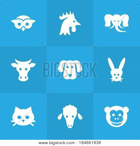 Set Of 9 Brute Icons Set.Collection Of Lamb, Trunked Animal, Rooster And Other Elements.