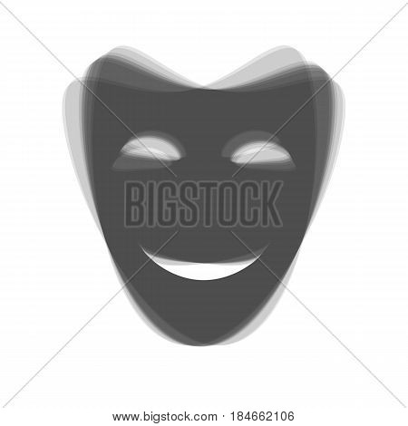 Comedy theatrical masks. Vector. Gray icon shaked at white background.
