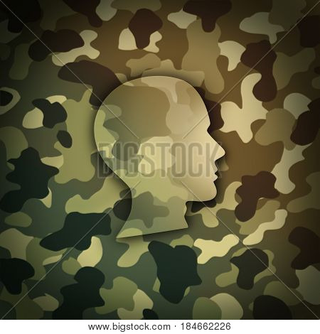Military soldier concept as battlefield camouflage shaped as the head of a brave veteran as a metaphor for national defense warrior in a 3D illustration style.