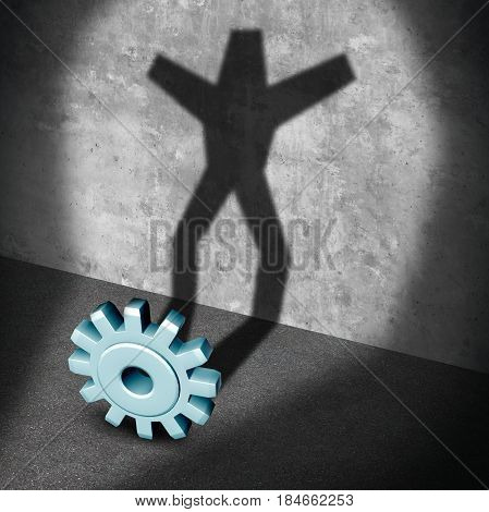 Industry career success metaphor as a gear or business cog casting a shadow shaped as a successful person with arms raided up in celebration as a 3D illustration.