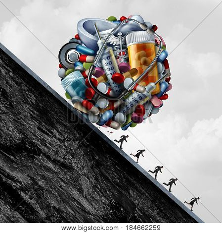 Health care system problem and pressure as a group of medicine or medical and Doctor equipment rolling down a hill forcing financial or insurance cost stress on patients with 3D illustration elements.
