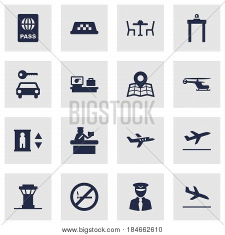 Set Of 16 Airplane Icons Set.Collection Of Letdown, Forbidden, Aircraft And Other Elements.
