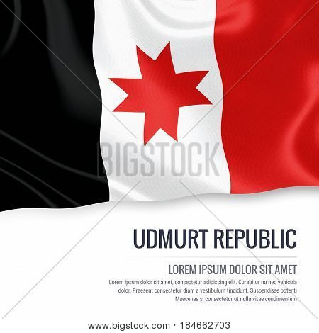 Russian state Udmurt Republic flag waving on an isolated white background. State name and the text area for your message. 3D illustration.
