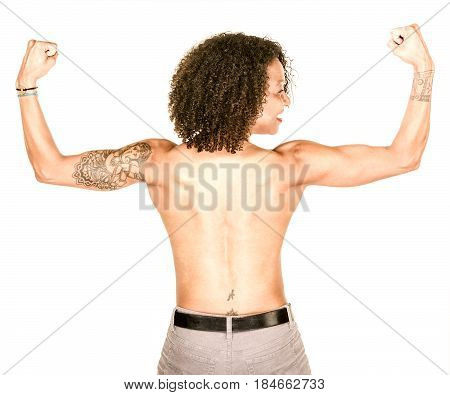 Strong African American woman from behind flexing and smiling with no shirt