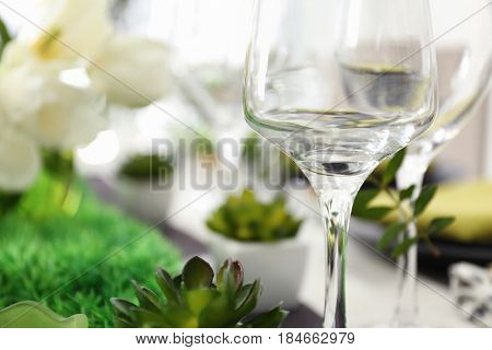 Empty glass on table in restaurant, closeup