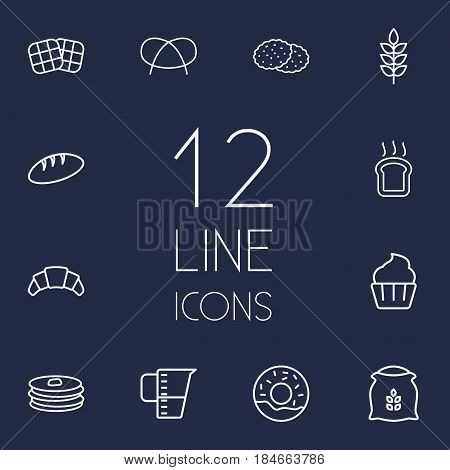 Set Of 12  Outline Icons Set.Collection Of Donuts, Croissant, Bread And Other Elements.