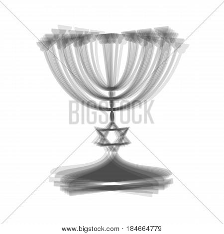 Jewish Menorah candlestick in black silhouette. Vector. Gray icon shaked at white background.