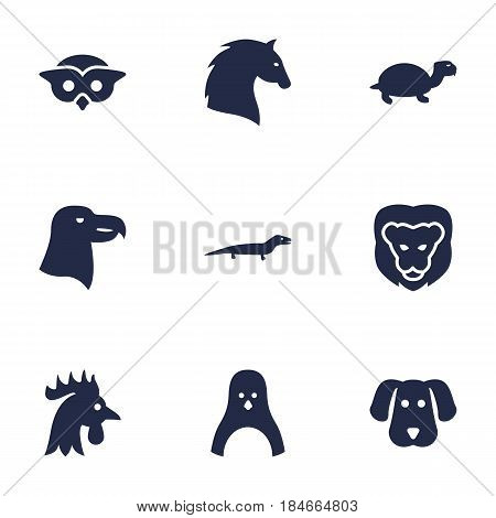 Set Of 9 Beast Icons Set.Collection Of Night Fowl, Aquila, Rooster And Other Elements.