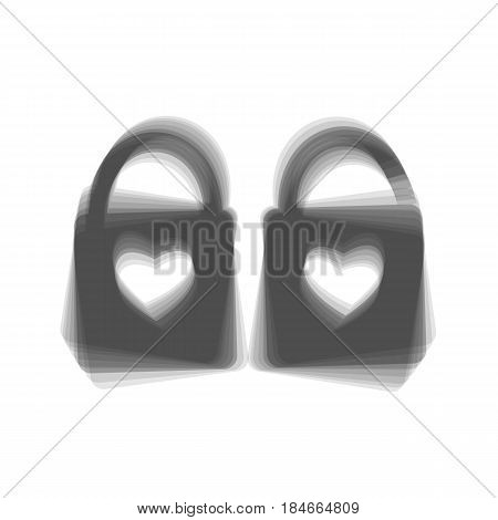 lock sign with heart shape. A simple silhouette of the lock. Shape of a heart. Vector. Gray icon shaked at white background.