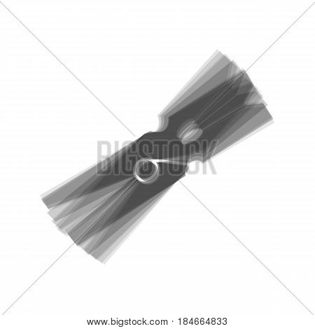 Clothes peg sign. Vector. Gray icon shaked at white background.
