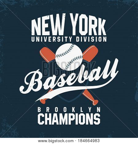 Baseball New York. Vintage t-shirt print and clothing branding. Ball with bats and shield. Sport club logo athlete sportswear advertising apparel. Vector