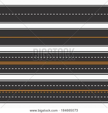 Roads. Seamless background horizontal straight asphalt roads set. Vector