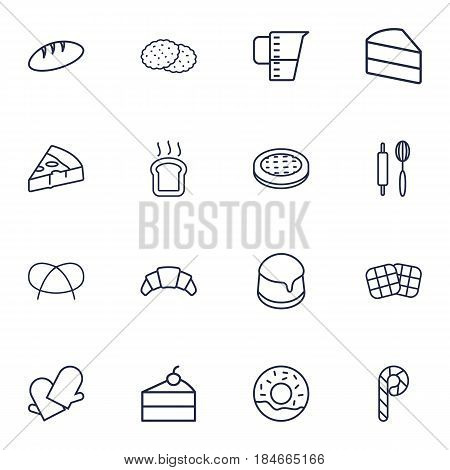 Set Of 16 Oven Outline Icons Set.Collection Of Rolling Pin, Measuring Cup, Donuts And Other Elements.