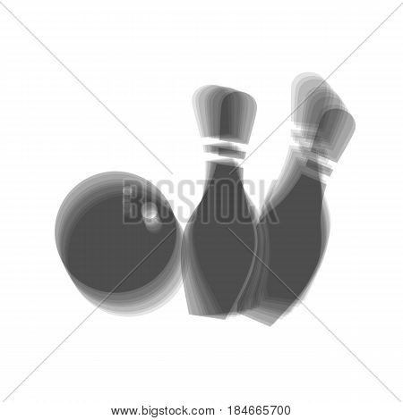 Bowling sign illustration. Vector. Gray icon shaked at white background.