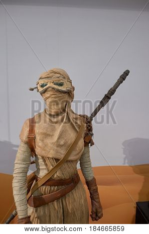 HONG KONG - CIRCA DECEMBER, 2015: Rey life-sized movie character displayed at exhibition on second floor in Times Square