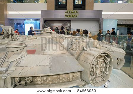 HONG KONG - CIRCA DECEMBER, 2015: Millennium Falcon at exhibition on second floor in Times Square