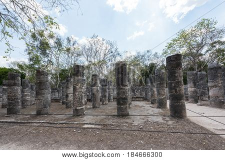 Columns in the Templo de los Guerreros, Temple of the Warriors at Chichen Itza, Yucatan, Mexico