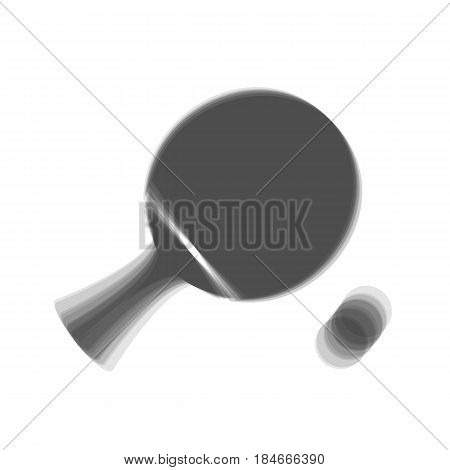 Ping pong paddle with ball. Vector. Gray icon shaked at white background.