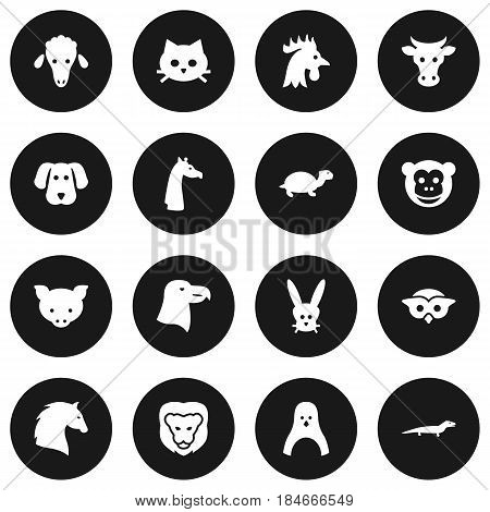 Set Of 16 Beast Icons Set.Collection Of Hound, Kine, Diver And Other Elements.
