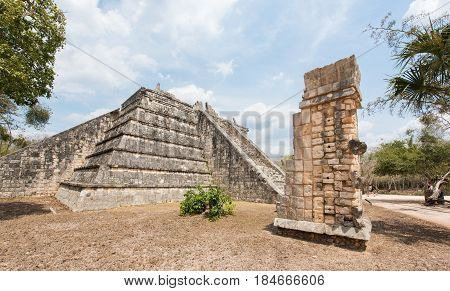 The Ossuary, Archaeological Site of the Ancient Mayan Ruins, Chichen Itza, Yucatan, Mexico