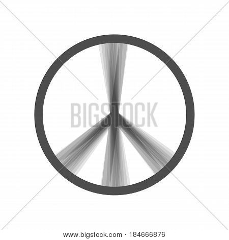 Peace sign illustration. Vector. Gray icon shaked at white background.