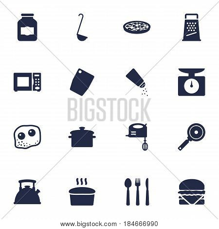 Set Of 16 Culinary Icons Set.Collection Of Saucepan, Weighing Machine, Scoop And Other Elements.