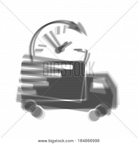 Delivery sign illustration. Vector. Gray icon shaked at white background.