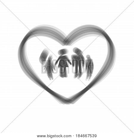 Family sign illustration in heart shape. Vector. Gray icon shaked at white background.