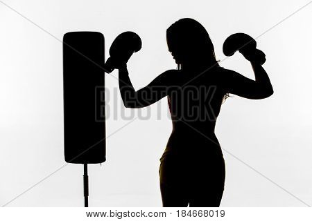Brunette model posing with boxing equipment