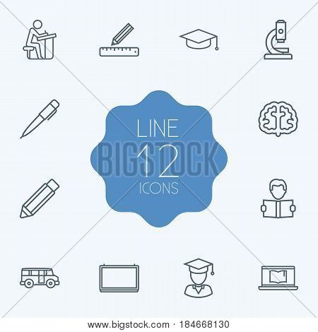 Set Of 12 Studies Outline Icons Set.Collection Of Pen, Brain, Pencil And Other Elements.