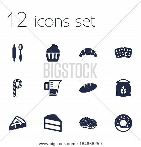 Set Of 12  Icons Set.Collection Of Measurement, Striped Lollipop, Whisk And Other Elements.