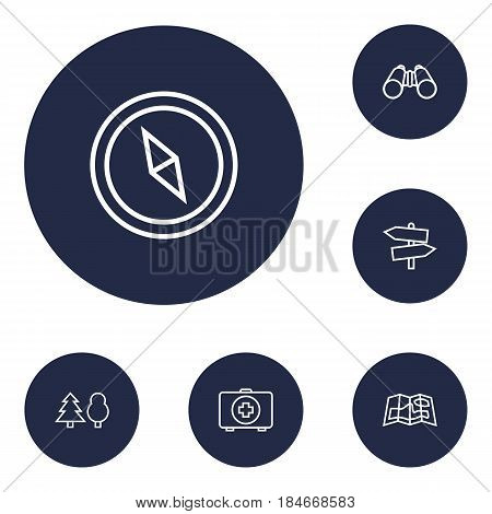 Set Of 6 Adventure Outline Icons Set.Collection Of Compass, Binoculars, Guidepost And Other Elements.
