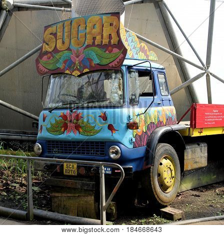 Bodelva, Cornwall, Uk - April 4 2017: Colourful Sugar Truck At The Eden Project In Cornwall, England
