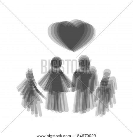Family symbol with heart. Husband and wife are kept children's hands. Love. Vector. Gray icon shaked at white background.